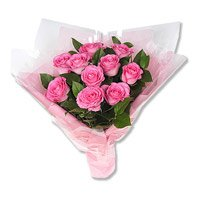 Send Pink Roses Bouquet 10 Flowers Delivery in India