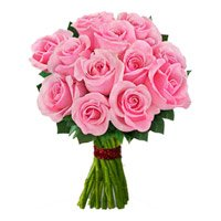 Send Pink Roses Bouquet 12 Flowers