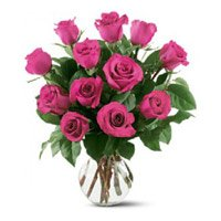 Send Pink Roses in Vase 12 Flowers