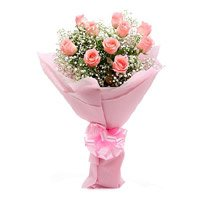 Online Pink Roses Crepe 15 Flowers to India