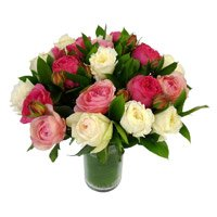 Send Pink White Roses in Vase 24 Flowers to India