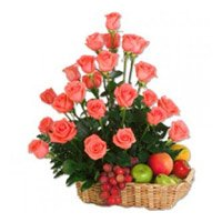 Online Send 36 Pink Roses and 2 Kg Fruit Basket to India