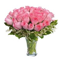 Buy Pink Roses in Vase 50 Flowers