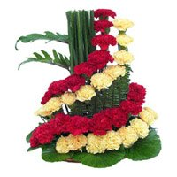 Red and Yellow Flowers to Imphal, Basket of 50 Flowers to Imphal