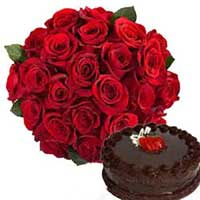 Send 24 Red Roses Bunch with 0.5 kg Chocolate Cake Delivery in India
