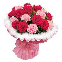 Bouquet of 18 red rose and pink carnation