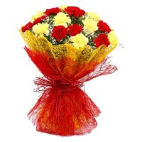 Bhai Dooj Flower Bouquet of 20 red and yellow carnation