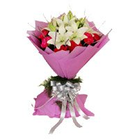 Bhai Dooj Flower Bouquet of 10 red carnation and 5 white lily