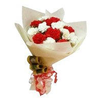 Bouquet of red and white carnation - Flowers to India