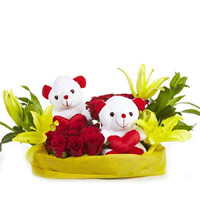 Deliver Online Flowers to India - Rose Lily Teddy