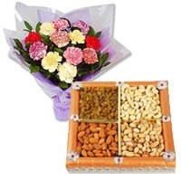 Arrangement of 500 gm dry fruits with 12 mix carnation