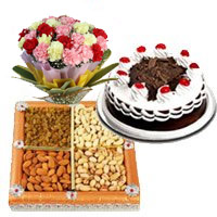 500 gm dry fruit, 500 gm forest and 12 mix carnation flowers to India