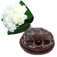 Bunch of 12 White Carnation and 1 Kg Chocolate Cake