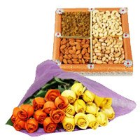 Online 24 Orange Yellow Roses Bunch 1/2 Kg Dry Fruits Delivery in India