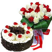Send 15 Red White Roses 1 Kg Black Forest Cake to India