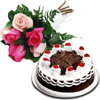 Buy 6 Mix Roses 1/2 Kg Black Forest Cake to India