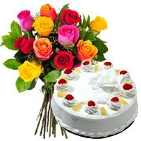 Order 12 Mix Roses 1 Kg Pineapple Cake Delivery in India