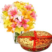 1 kg mix dry fruits and 10 mix lily vase - Anniversary Gifts Online in India