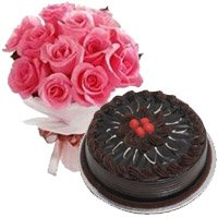 Combo of Eggless chocolate cake and 12 pink roses