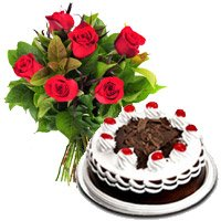 Send Father's Day Black Forest Cake with 6 Red Roses to Madurai
