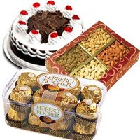 Combo of Ferrero Rochers, dry fruits and black forest cake : Chocolates to India : Gifts to India