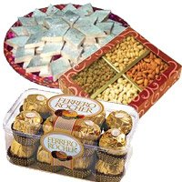 combination of Ferrero Rocher with 500 gm kaju katli and 1 kg dry fruits