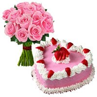 Bouquet of 12 pink roses and 1 kg Strawberry