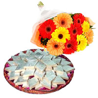 Combo of 12 Mix Gerbera and 1 Kg Kaju Barfi - Anniversary Gifts Online
