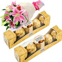 combination of Ferrero Rocher with 2 lily