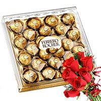 Combo of Ferrero Rocher and 6 red rose Bouquet