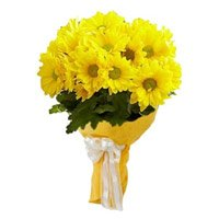 Best Flowers to Delhi : Yellow Gerbera Bouquet