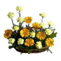 Send Flowers to India - Gerbera Carnation Basket