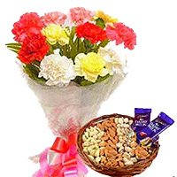 2 dairy milk chocolate, 500 gm dry fruit and 12 mix flower Bunch - Anniversary Gifts