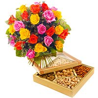 500 gm Assorted dry fruit with 24 mix roses - Anniversary Gifts Delivery