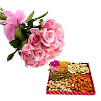 Pink roses and dry fruit - Send Anniversary Gifts