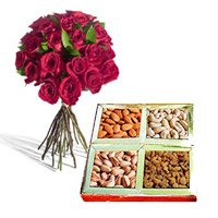 Red roses and mix dry fruits - Online Anniversary Gifts
