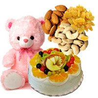 combination of Assorted dry fruit, eggless cake and 12 inch teddy - Anniversary Gifts Hampers