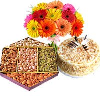 Butter Scotch cake and 500 gm mix dry fruit with mix gerbera