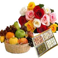 combination of 500 gm mix dry fruit, 1 kg fruit basket and 12 mix roses Bouquet - Anniversary Gifts to India