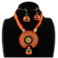 Round Terracotta Necklace in Orange Color