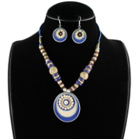 Blue Hand Crafted Thread Beaded Necklace