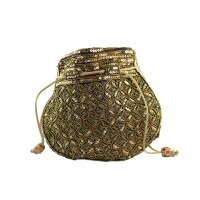 Golden Brown Heavy Embroidery Silk Potli Bag For Sister