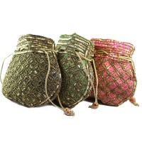 Send Birthday Gift Set Of 3 Beautiful Embroidery Silk Potli Bag For Her