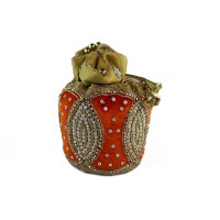 Red Velvet and Stone Embroidery Potli Bag For Sister