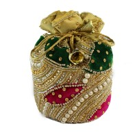 Online Pink and Green Stone Embroidery Potli Bag For Sister in India