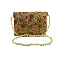 Send Rakhi Gift For Sister Floral Embroidery Sling Bag to India