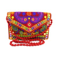Send Rakhi gift Red Ethnic Rajasthani Embroidery Sling Bag For Sister