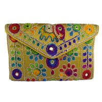 Rakhi Gift For Sister Yellow Elephant Embroidery Sling Bag to India
