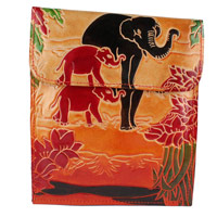 Send Birthday Gift For Her Leather Work In Batik Print 013