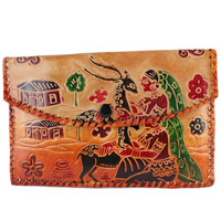 Leather Work in Batik Print Rakhi Gift For Sister Delivery in India